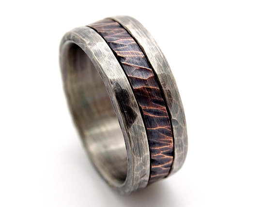 c5f019df85e136 cool mens ring mixed metal, mens promise ring wood grain, unique wedding  band bronze silver, mens we