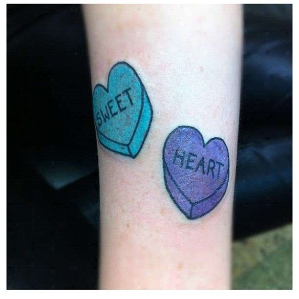 Candy heart tattoo. Inspiration for a couple\'s tattoo. | Ink | Candy ...