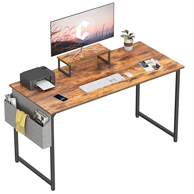 Amazon Com Cubiker Computer Desk 63 Inch Home Office Writing Desk Student Study Desk With Small Table And Storage Bag Rustic Bro Small Tables Study Desk Desk