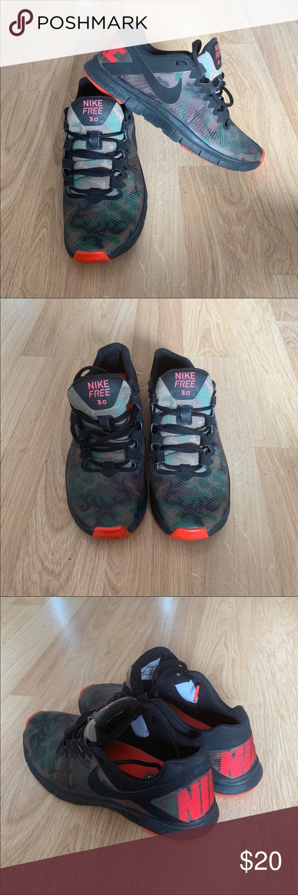 374abb8a51b66 Nike Free 3.0 Camo Green and Orange Good preowned condition. Nike Shoes  Sneakers