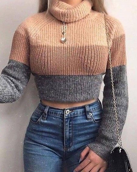 boutiquefeel / High Neck Long Sleeve Sweater