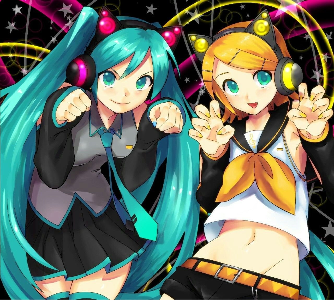 Hatsune Miku and Kagamine Rin with Axent wear cat ear