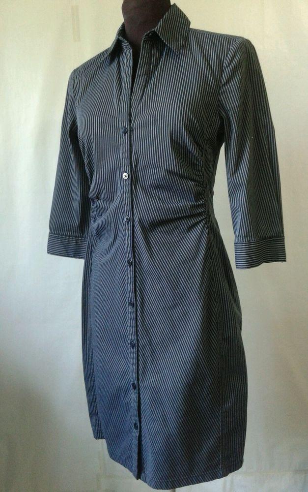 SZ 4 SHIRT Dress EXPRESS DESIGN STUDIO BLACK WHITE PINSTRIPE
