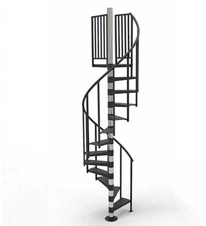 Prefab Steel Spiral Stair Kit The Amelia Diy Stair Stair Kits Spiral Stairs Diy Staircase