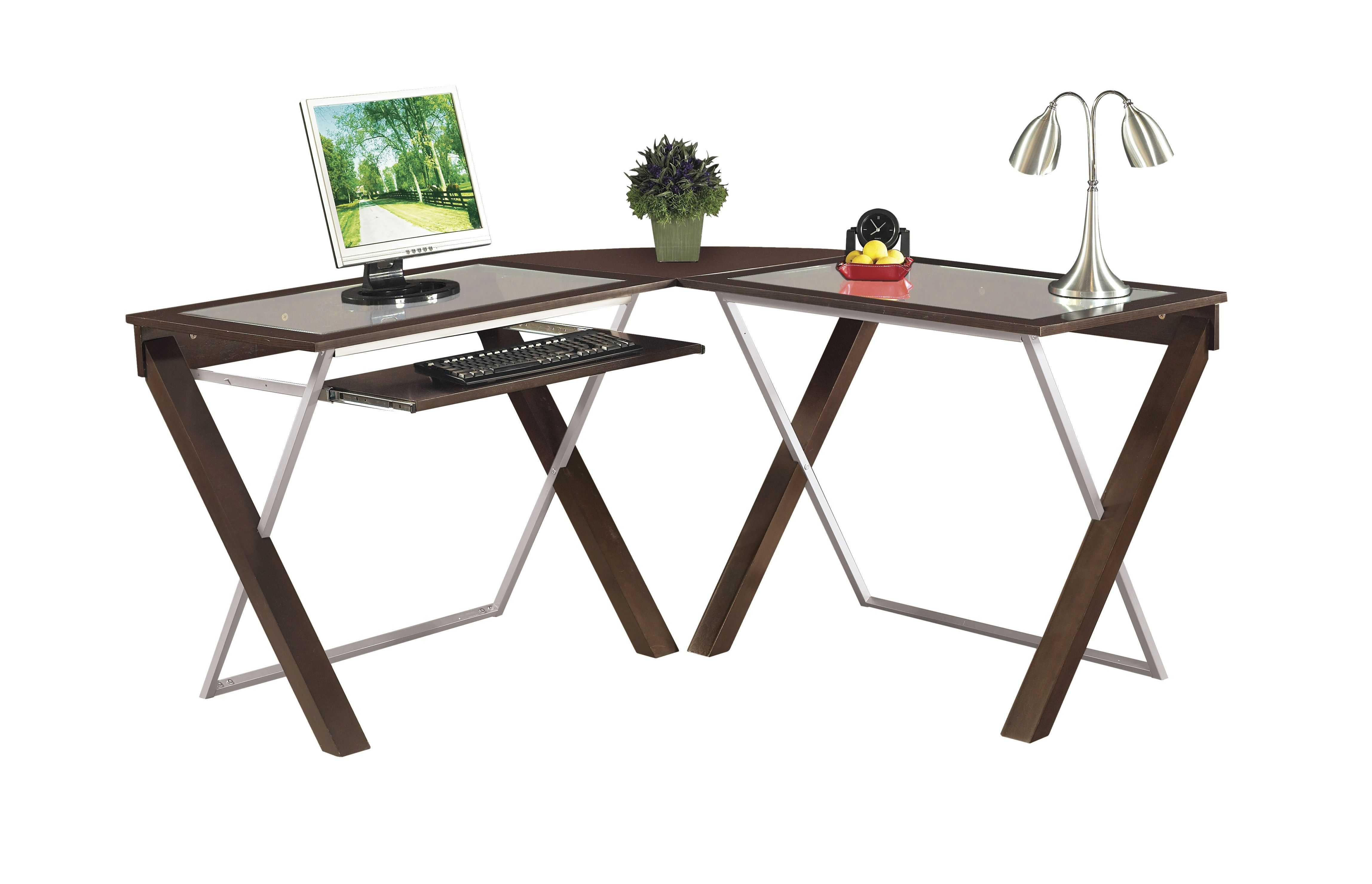 Glass L Shaped Office Desk Tinted Glass Brown Wooden Glass Shaped