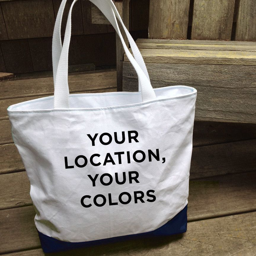 Custom Zip Cruise Tote, Choose Your Color Palette + Location