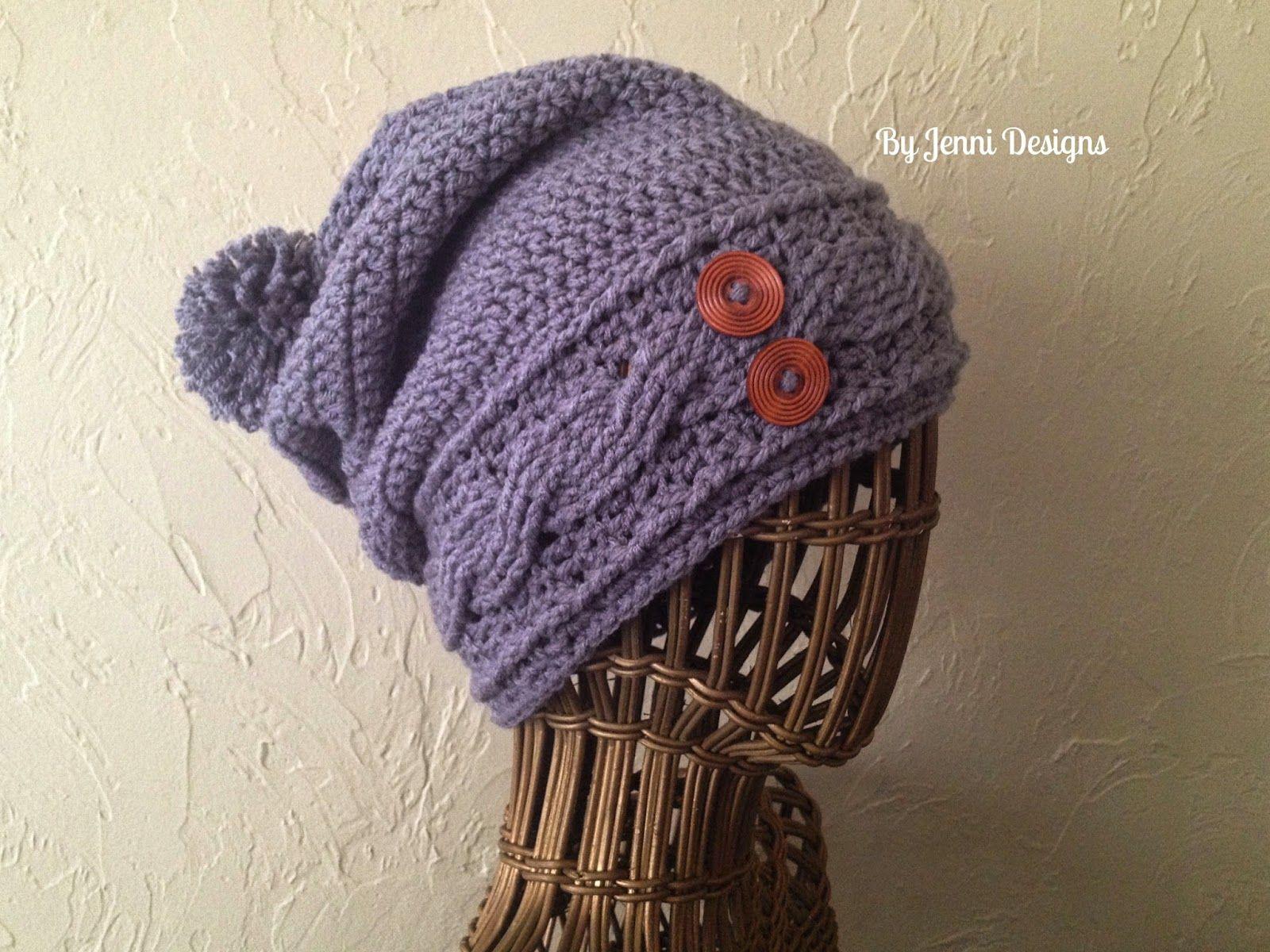 By Jenni Designs: Crochet Women\'s Slouchy Cable Hat, Free Pattern ...