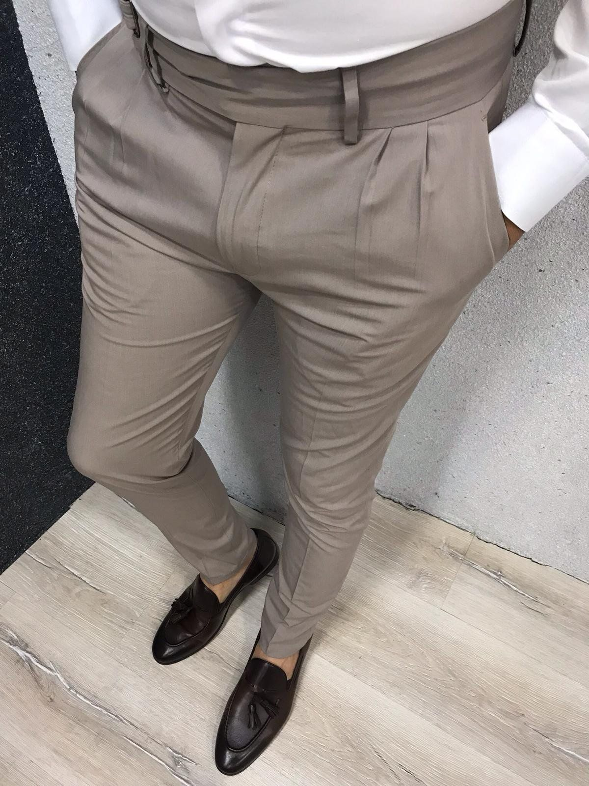 Kingston Cream Corset Belted Pleated Pants Slim Fit Dress Pants Mens Pleated Pants Pants Outfit Men [ 1600 x 1200 Pixel ]