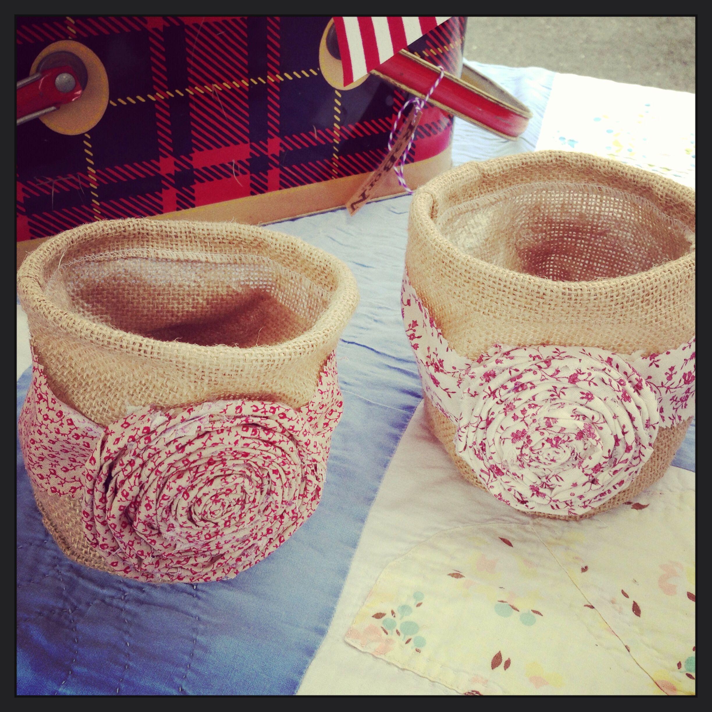 Burlap Flower Pots with Fabric Flowers.