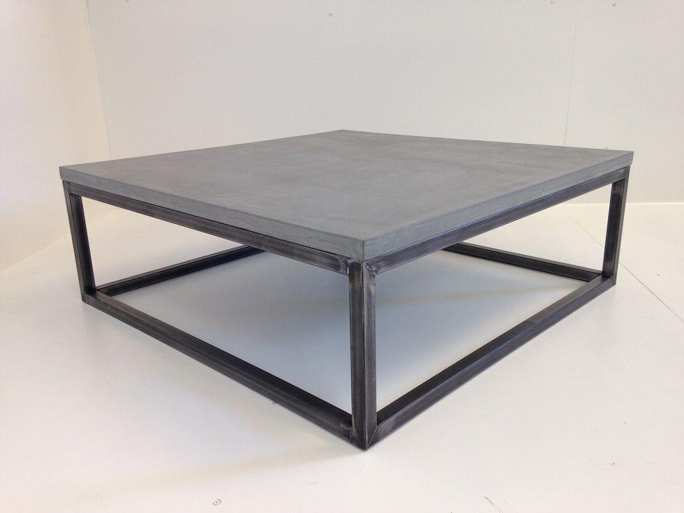 table basse beton cire carree zig zag acier brosse recup pinterest metal table and salons. Black Bedroom Furniture Sets. Home Design Ideas