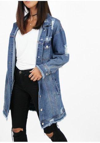 Veste jean femme longue zara