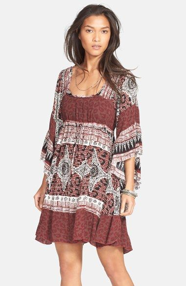 Free shipping and returns on Free People 'Hearts of Gold' Babydoll Dress at Nordstrom.com. A mixed print splashes variegated shades onto a lightweight babydoll dress styled for a boho-chic look with voluminous kimono sleeves and a swingy skirt.