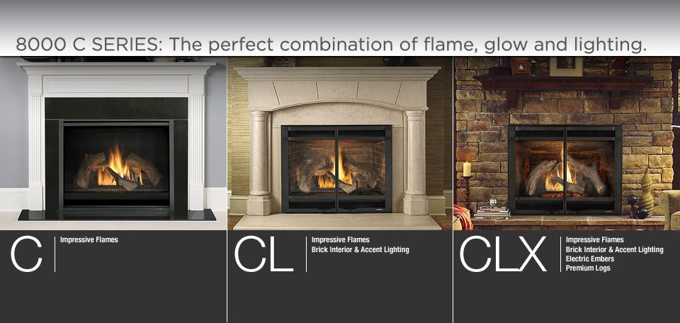 8000 And 6000 Fireplace Option Summary Showing The Difference Between C Cl Clx Units