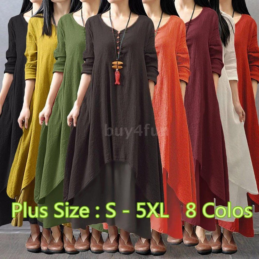 e0ab229b4d8 New Plus Size Women Casual Loose Dress Solid Long Sleeve Cotton Linen Boho  Long Maxi Autumn Dress (Plus Size   S - 5XL)