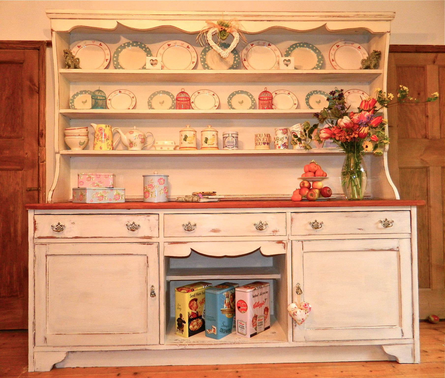 Extremely Large Rustic Shabby Chic Pine Kitchen Farmhouse Dresser