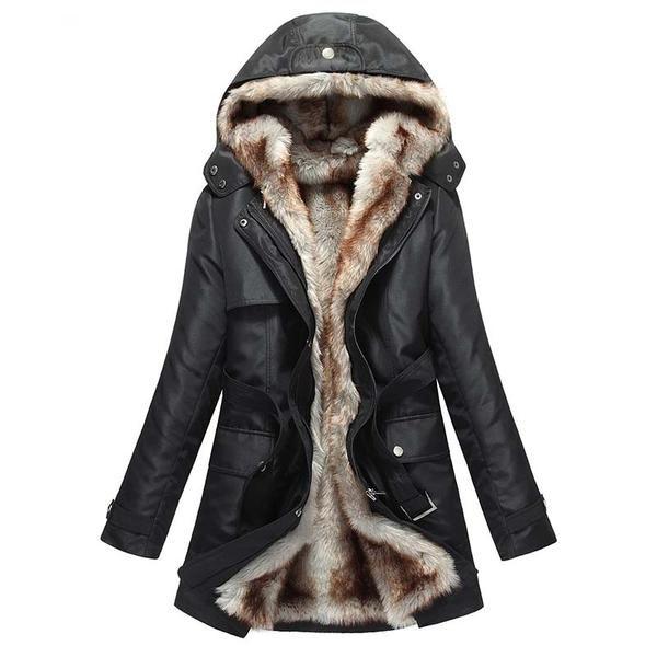 Warm Long Coat With Faux Fur Lining, Long Faux Fur Lined Winter Coat