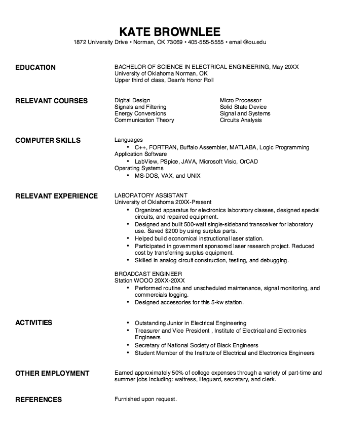 example resume for ex offenders