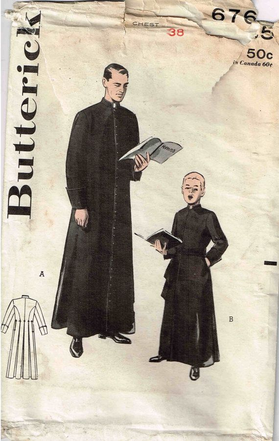Vintage 1950s Butterick 6765 Mens Religious Cassock Priest Robe ...