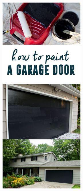 Our Black Garage Door How To Paint A Garage Door Garage Door Paint Black Garage Doors Diy Garage Door