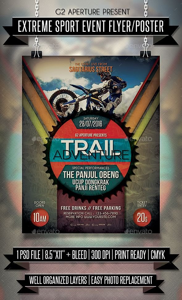 Extreme Sport Event Flyer \/ Poster Event flyers, Psd templates - event flyer templates