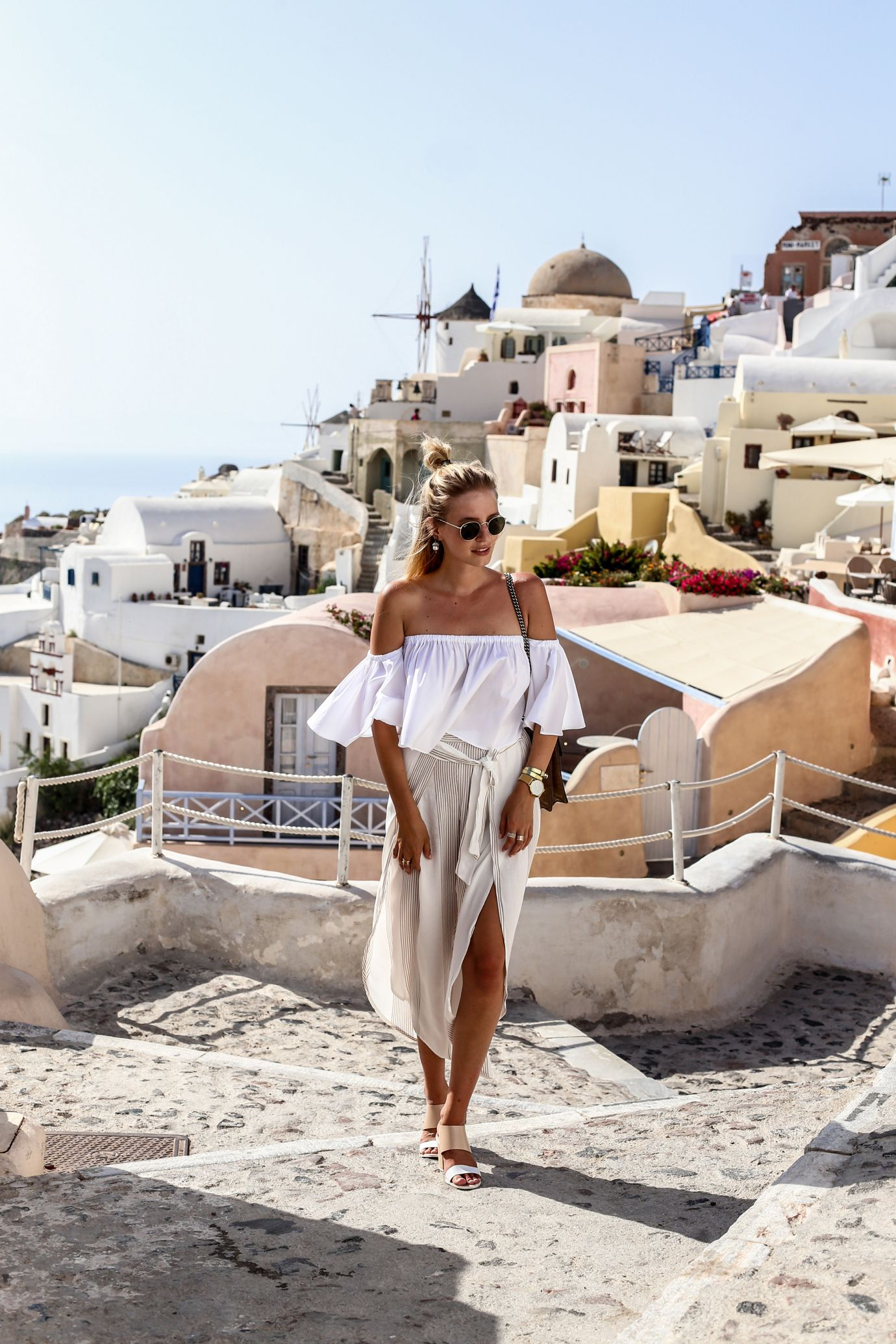 All neutral in Fira, Santorini | Gucci Dionysus bag, off shoulder top, Faithfull pants: http://www.ohhcouture.com/2016/06/nude-gucci-earrings/ | #ohhcouture #leoniehanne