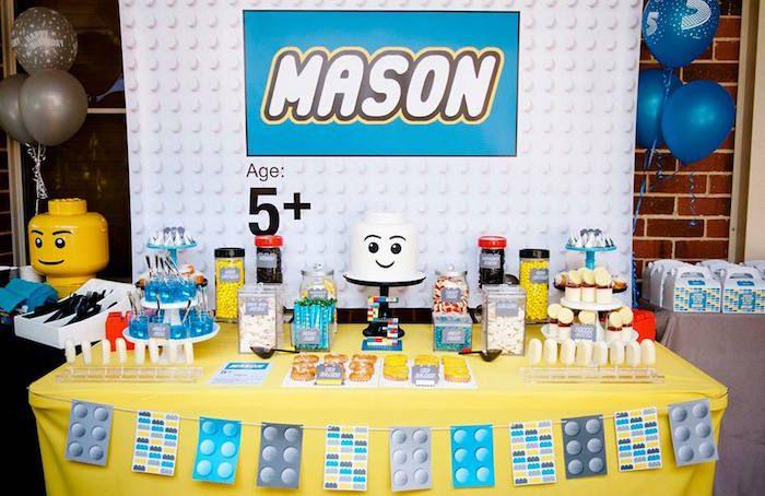 Modern Lego Birthday Party | Themed birthday parties, Dessert table ...