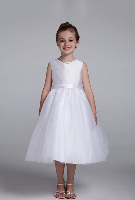 396dbbbaa03 Shantung tank dress with full tulle skirt.  See More David s Bridal Flower  Girl Dresses