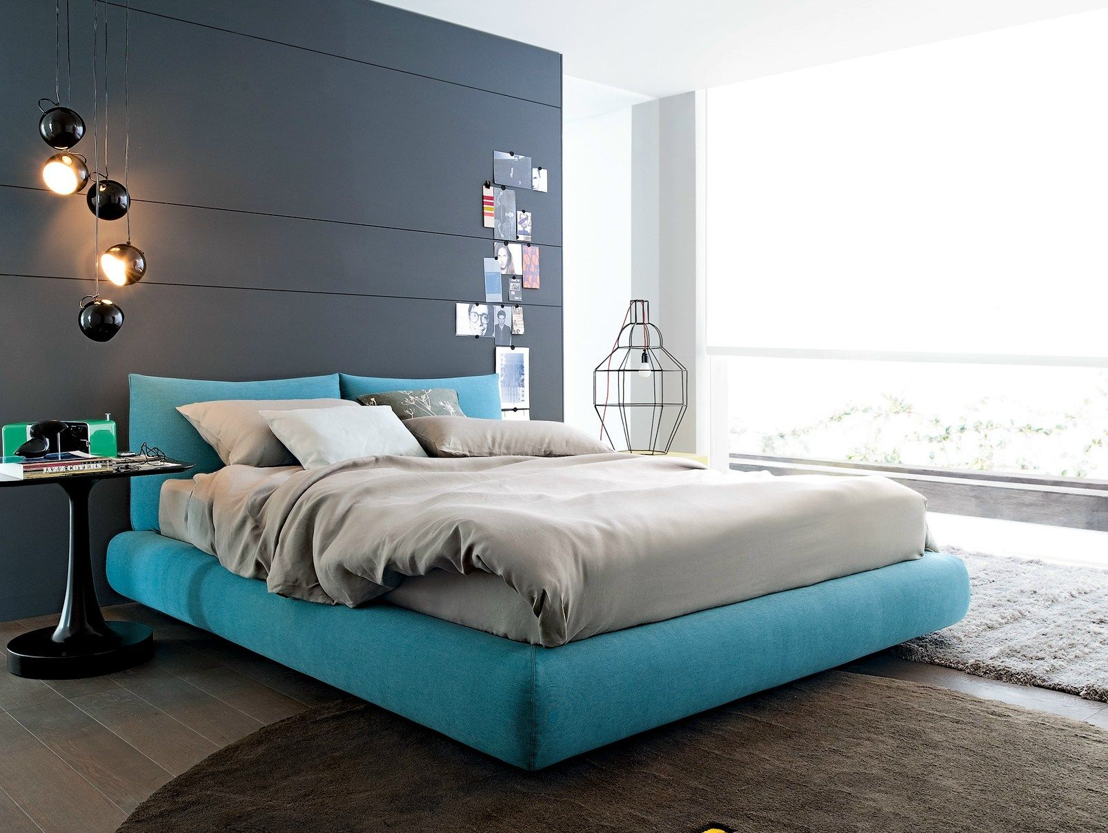 Interior design for double bedroom flat fabric double bed with upholstered headboard dream  poliform