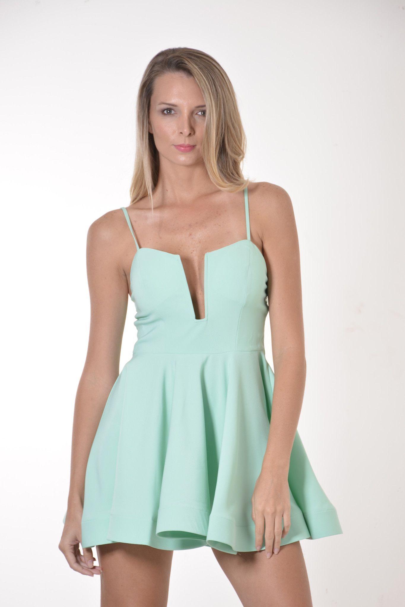 Adelynn Mint Deep V-Neck Flared Short Dress | Pinterest