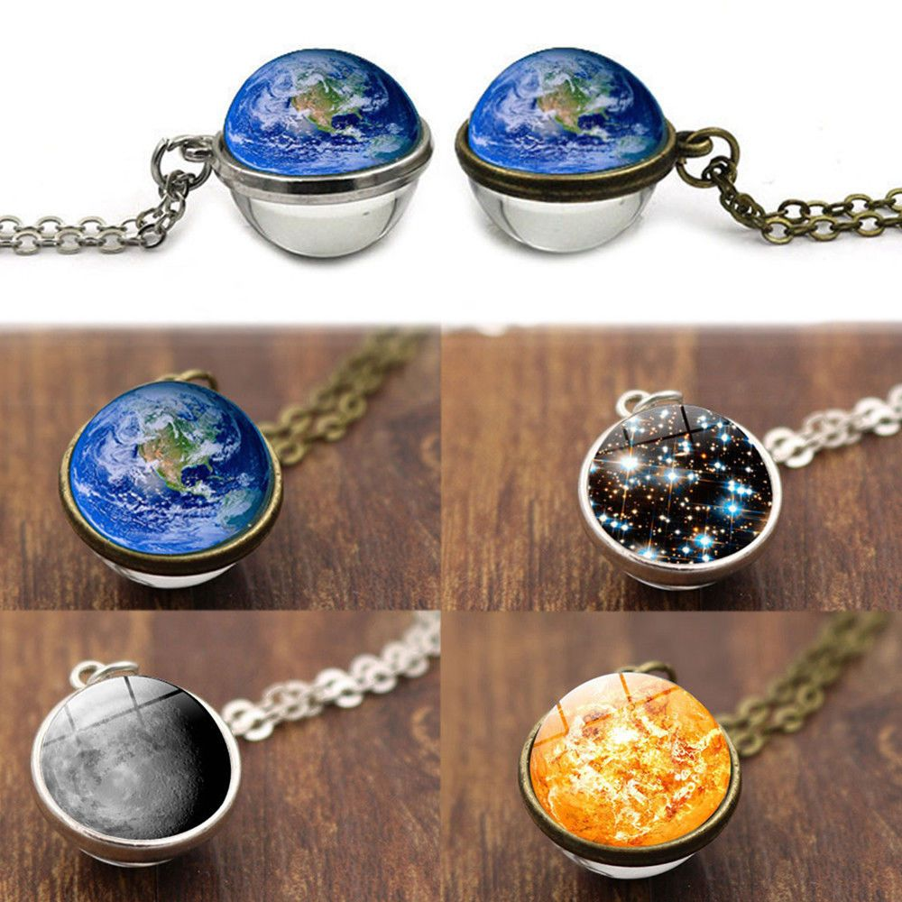 Long Chain Double Sided Planet Pendant Galaxy Ball Solar System Necklace