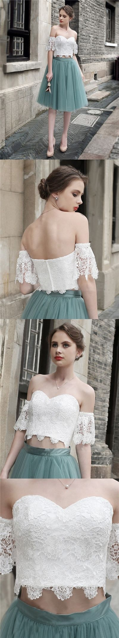 Two pieces homecoming dress sexy offtheshoulder short prom dress