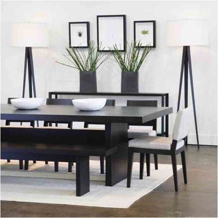 black wood dining table for small space with white black chair and bench also white tripod - Black Wood Dining Table And Chairs