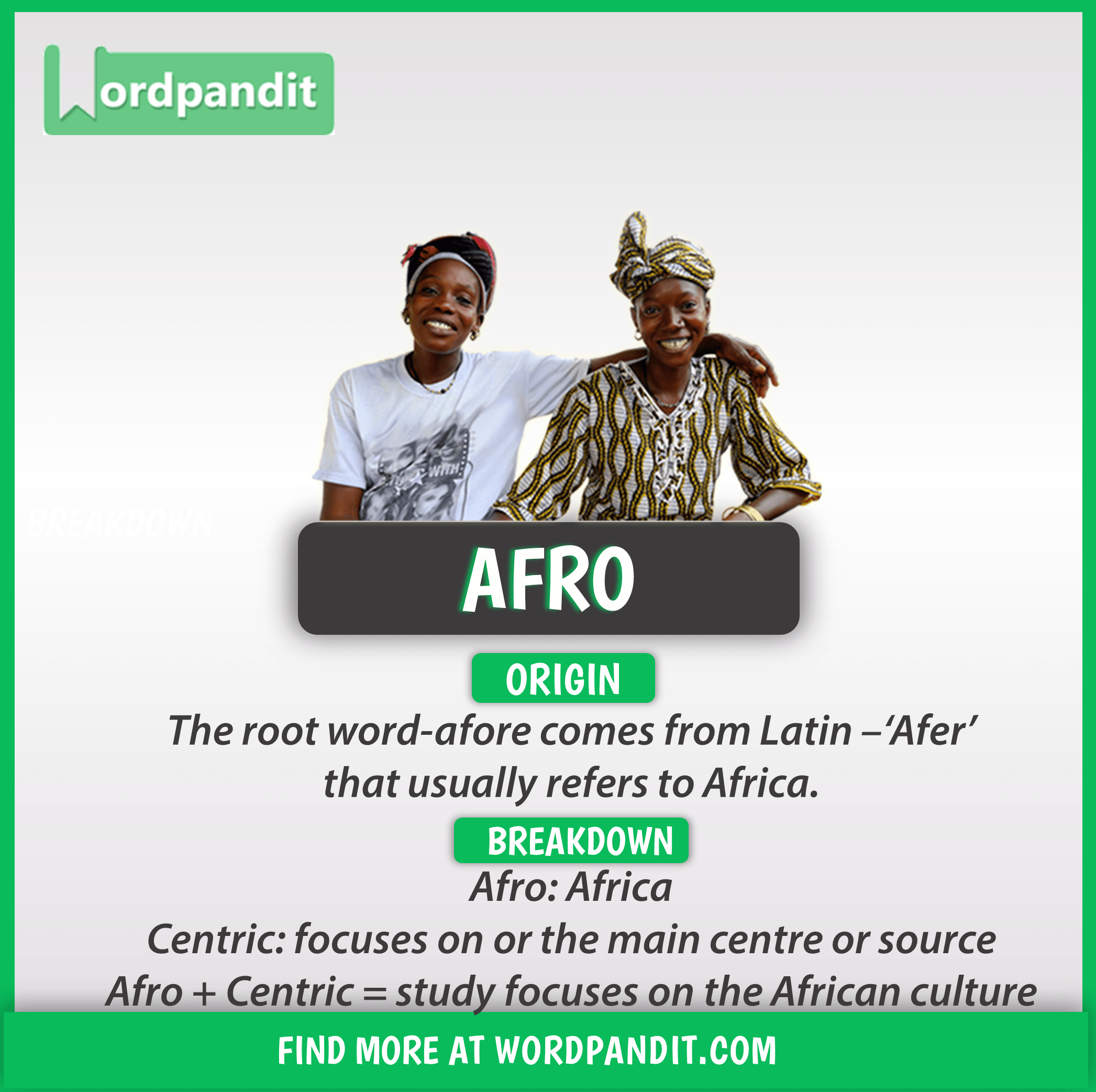 Know About Afro Root Word And Words Based On This Root Afro Good Vocabulary Words Root Words English Vocabulary Words