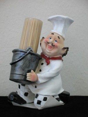 Fat French Italian Chef Toothpick Holder Bistro Waiter Serve Kitchen  Figurine