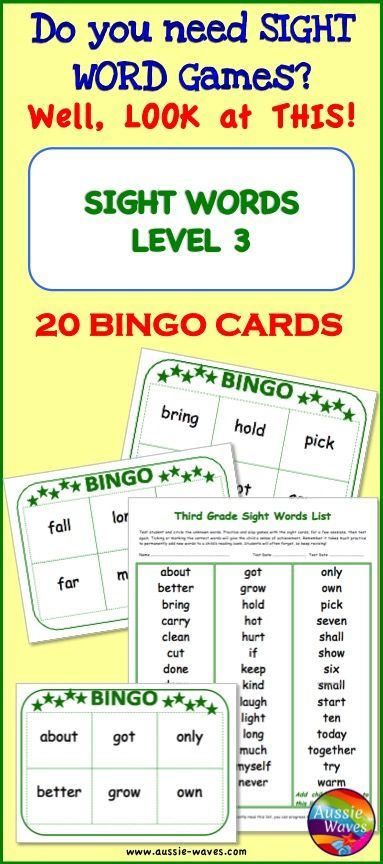 SIGHT WORDS BINGO Game Level 3 Reading Center Activity How to make