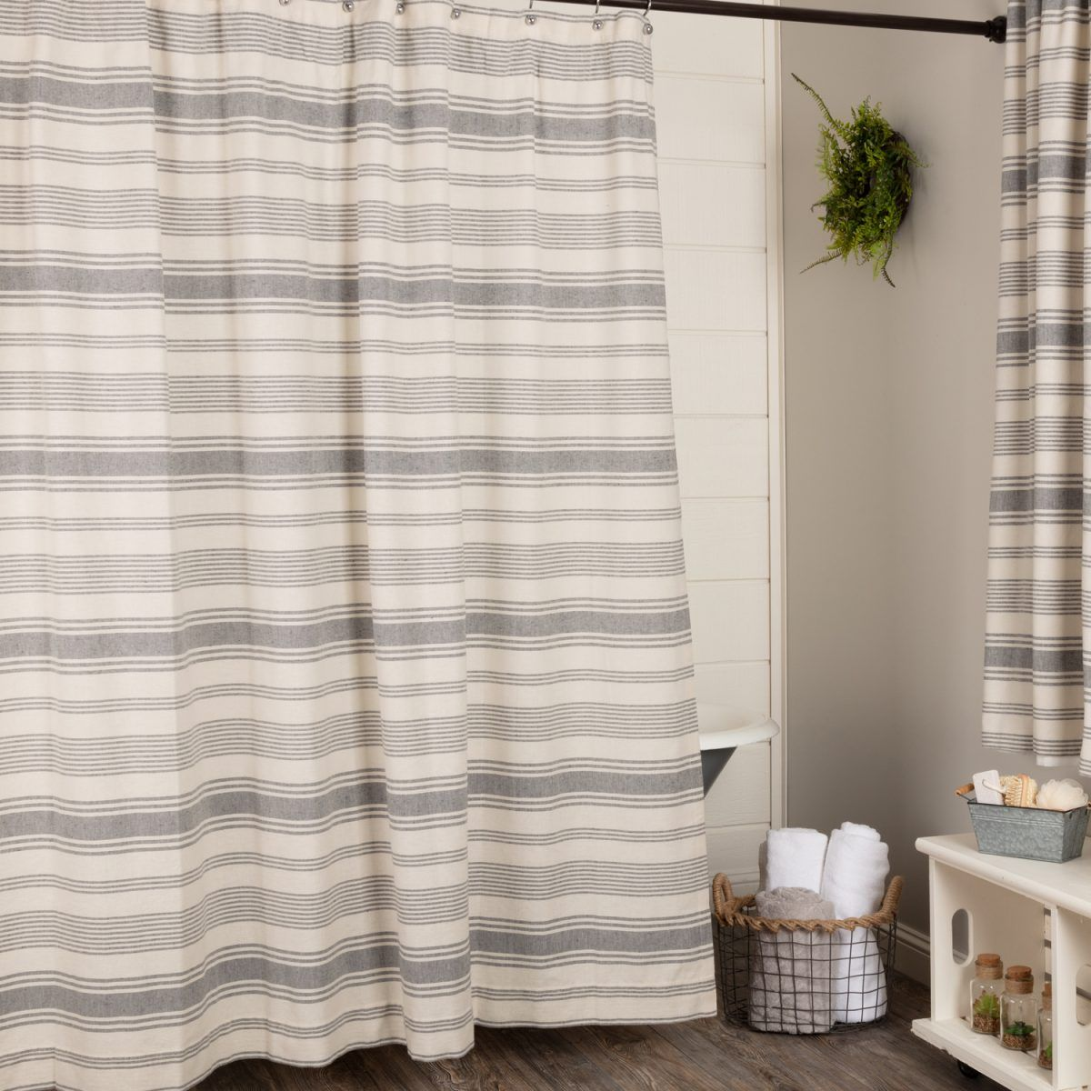 Farm Market Shower Curtain Bathroom Farmhouse Style Gray Shower