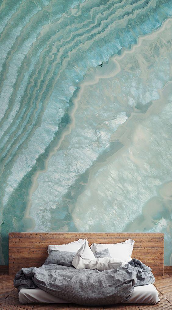Décoration Murale Cristal Agate Céleste Papier Peints Parement