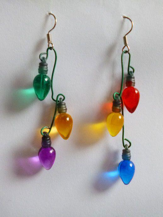 Christmas Lights Earrings | Beaded - earrings | Pinterest ...