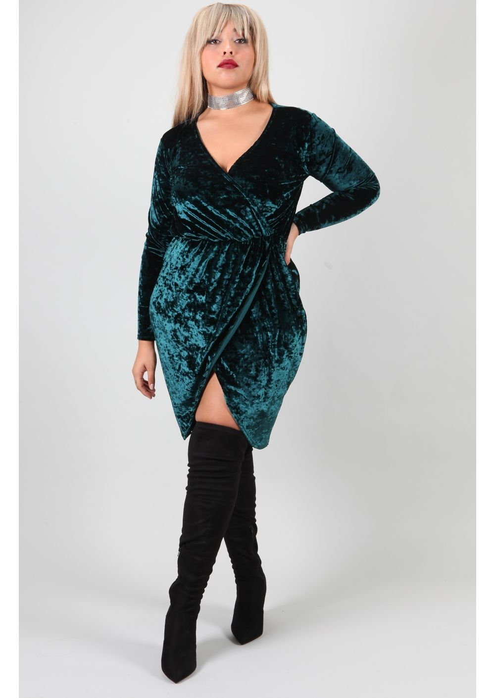 Plus Viola Crushed Velvet Wrap Dress Interesting And Wearable