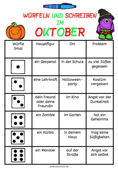 Würfeln und Schreiben im November, AFS-Methode, Arbeitsblatt, DAF ...