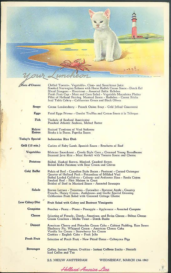 Holland america line s s nieuw amsterdam cat luncheon menu card 313 holland america line s s nieuw amsterdam cat luncheon menu card 313 1963 publicscrutiny Image collections