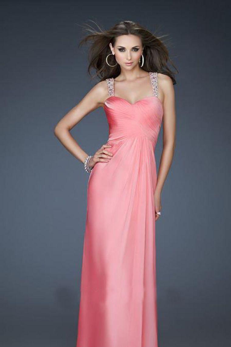 Watermelon Chiffon Floor-Length Straps A-Line Evening Dress ...