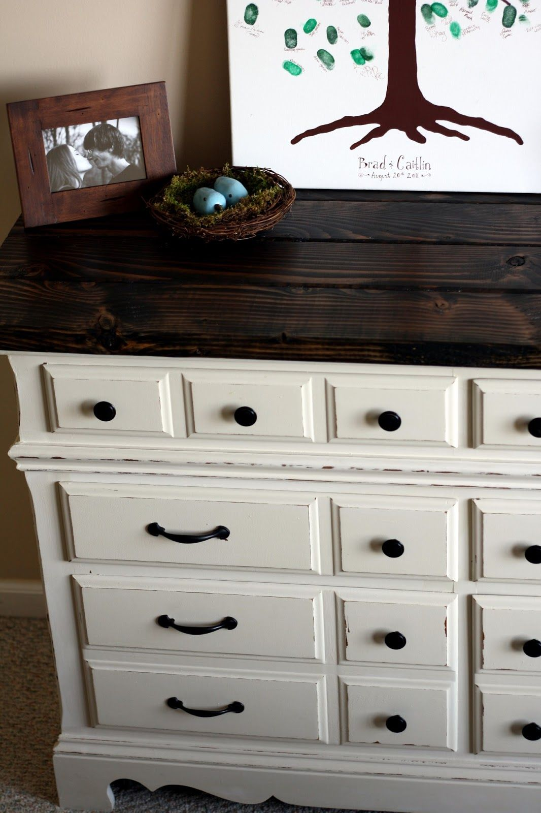 Diy Dresser With Rustic Wooden Top The Semi Frugal Life Dark Wood Bedroom Furniture
