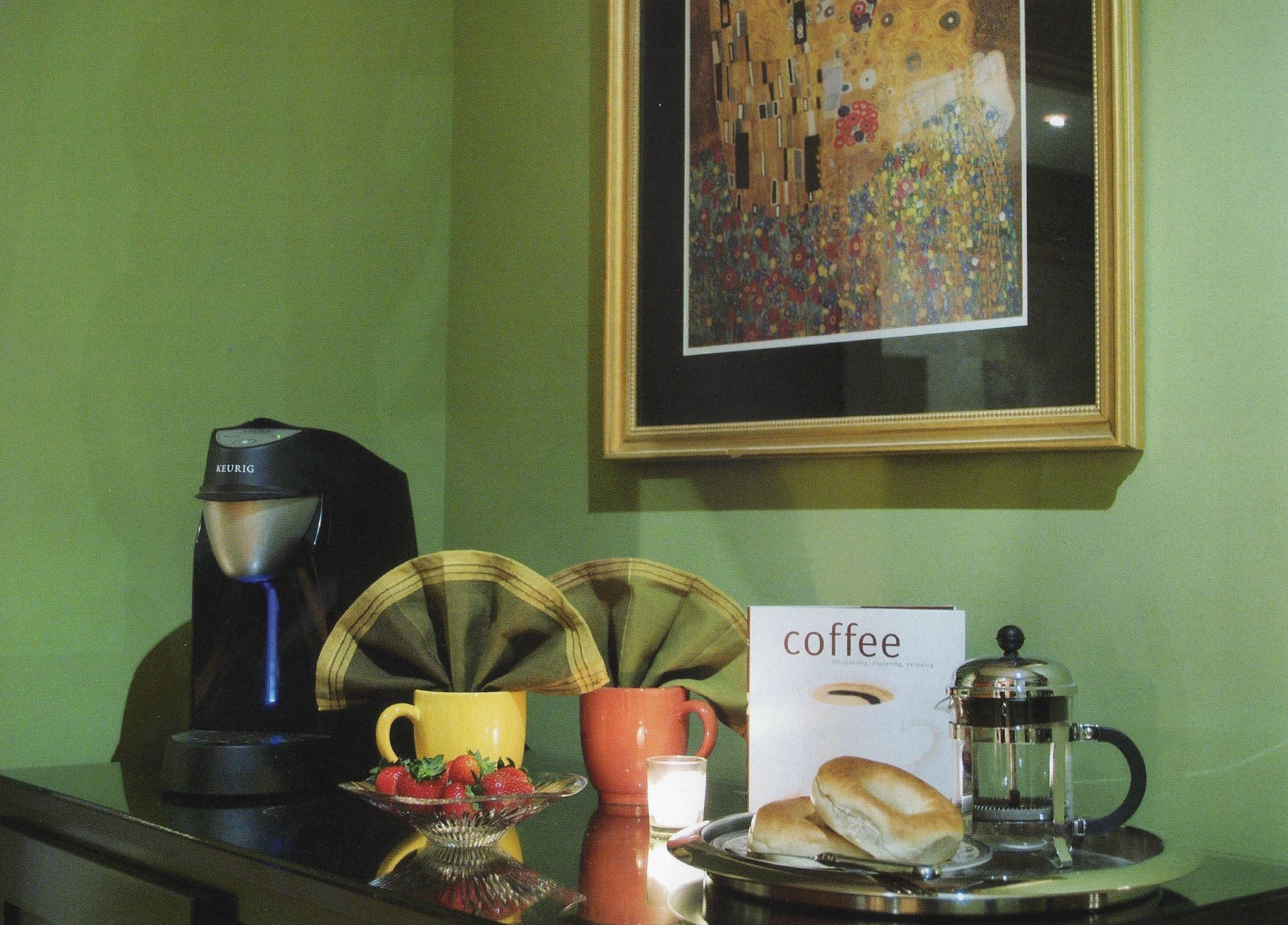 Coffee bar in master bedroom just before entering bath