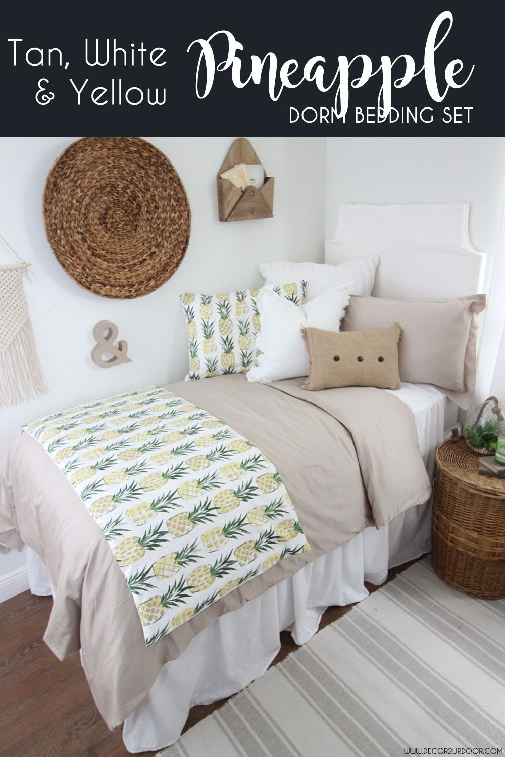 Pretty Pinele Dorm Decor This Tan White And Yellow Bedding Collection