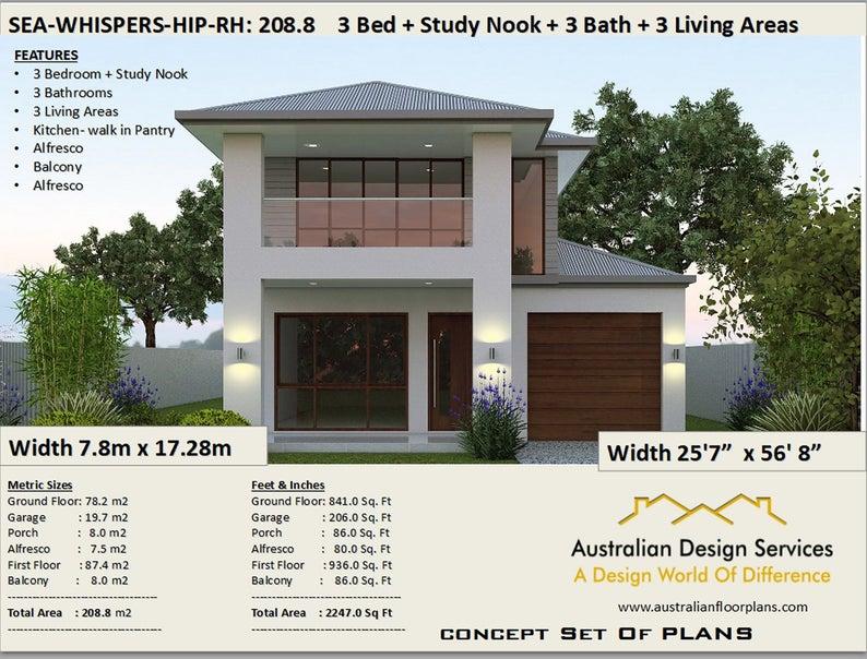 208 M2 2247 Sq Feet 2 Storey House Design Two Storey Etsy In 2020 Courtyard House Plans 2 Storey House Design Narrow House Plans
