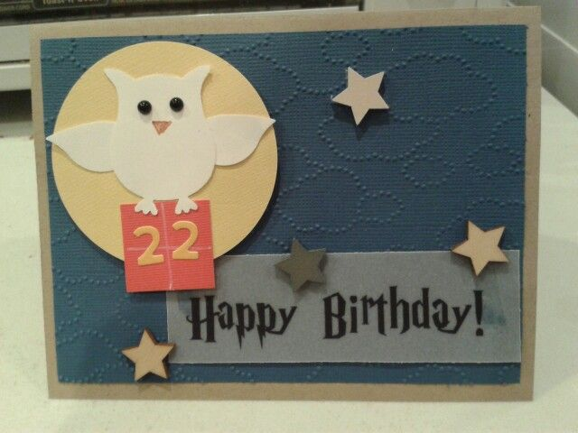 Harry Potter birthday card Stampin Up owl punch and embossing