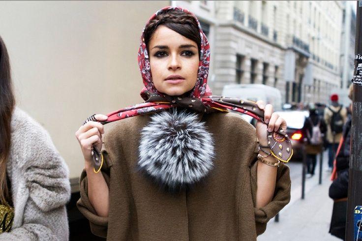 tying a silk headscarf