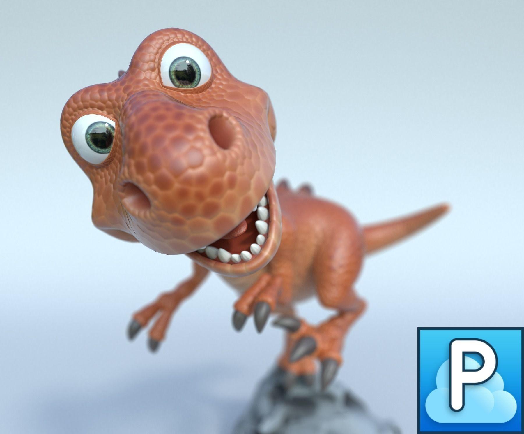 Cartoon trex 3D model T rex cartoon, Cartoon