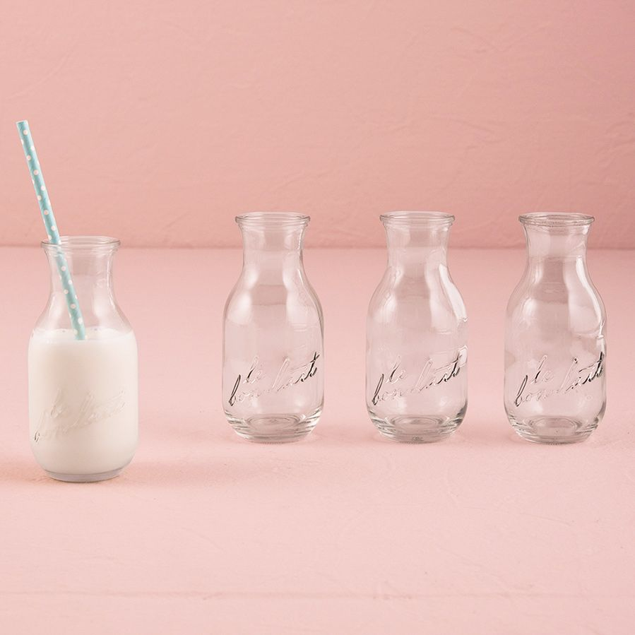 Glass Milk Bottles Le Bon Lait Wedding Favors by Tea and Becky ...